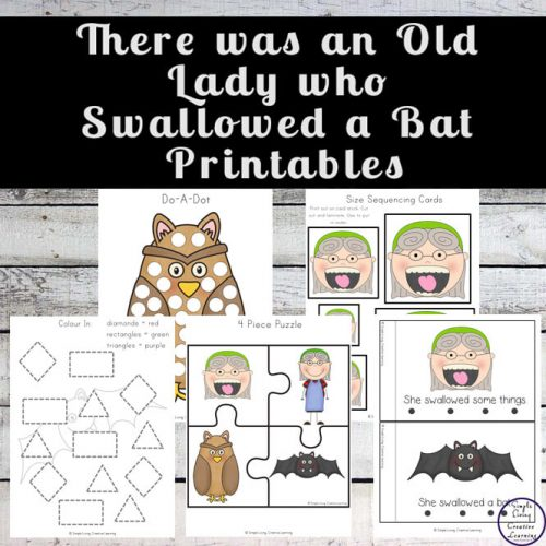A great free printable pack to go with the book, There was an Old Lady who Swallowed a Bat.