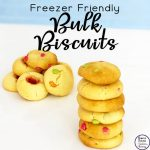 Biscuit lovers love this freezer friendly bulk biscuit recipe. These biscuits are great for snacks and to have on hand when guests pop over. And with only four ingredients, they are cheap and super easy to make.