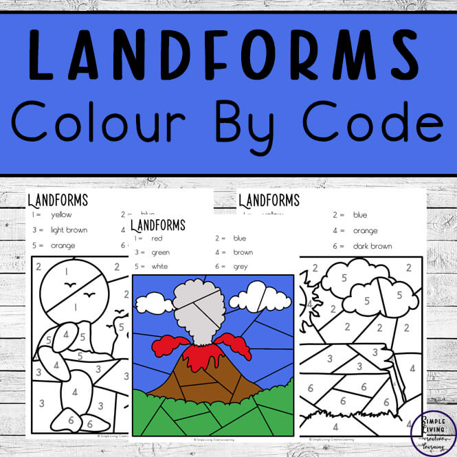 These Landforms Colour by Code Worksheets are an engaging way to practice number and colour recognition and landforms while working on fine motor skills.