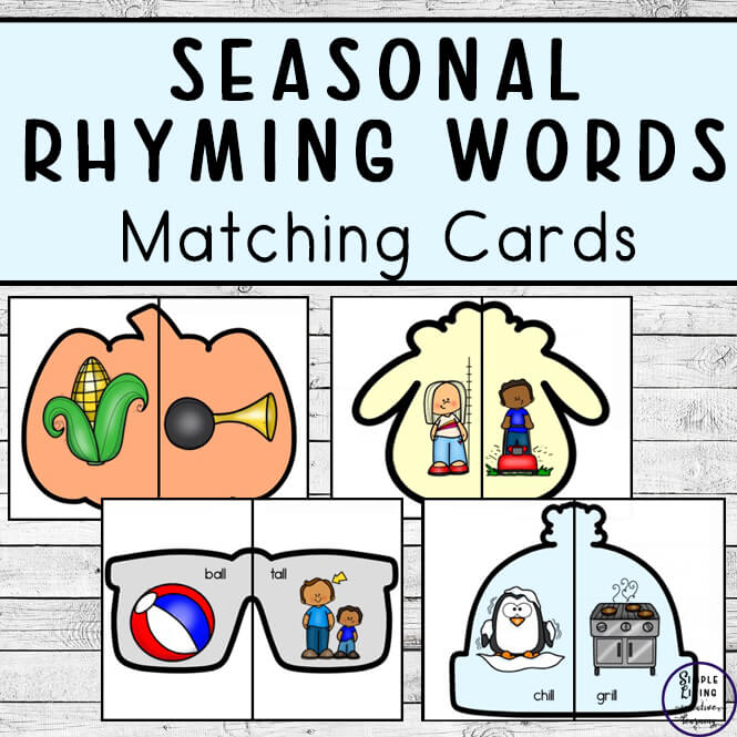 Seasonal rhyming words matching cards