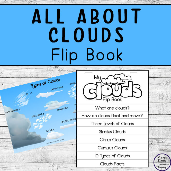 This All About Clouds Flip Book is a fun, hands-on activity that will have kids excited to be learning to identify and name ten different clouds they see in the floating in the sky.