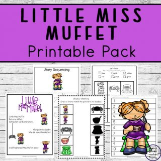 This Little Miss Muffet printable pack is aimed at children in kindergarten and preschool and includes over 80 pages of fun and learning.