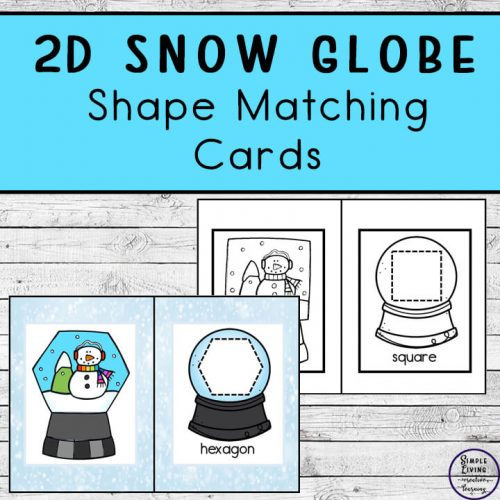 These cute snow globe shape matching cards are a great way to introduce children to fourteen different 2d shapes including square, triangle and rhombus.