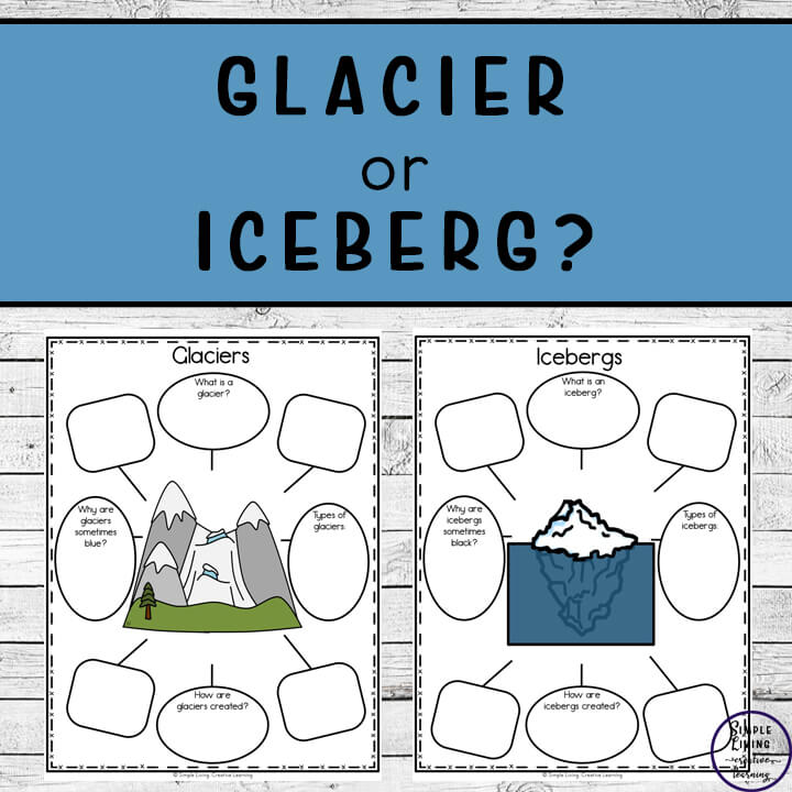 Learn the difference between a glacier and an iceberg with some research, then complete these Glacier or Iceberg Cut and Paste Printables.