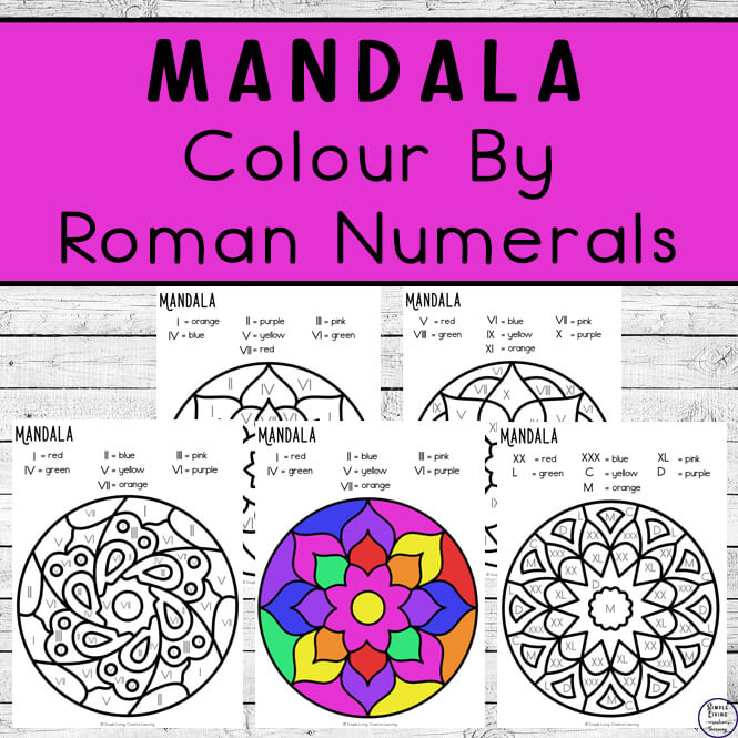 These Mandala Colour byRoman Numerals Worksheets are an engaging way to practice Roman Numeral and colour recognition while working on fine motor skills.