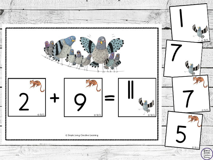 Full of suspense, this story is a great way for children to learn single figure addition and subtraction. These easy to use Pigeon Math Cards are a great way to enhance learning while reading this book.