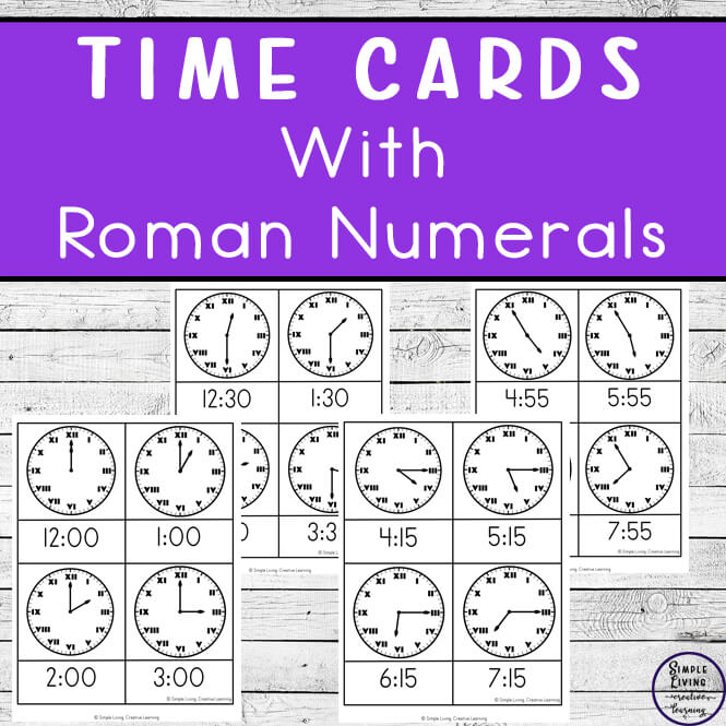 A fun way to work on reading the time on an analogue clock as well as learning Roman Numerals, is with these Roman Numeral time cards.