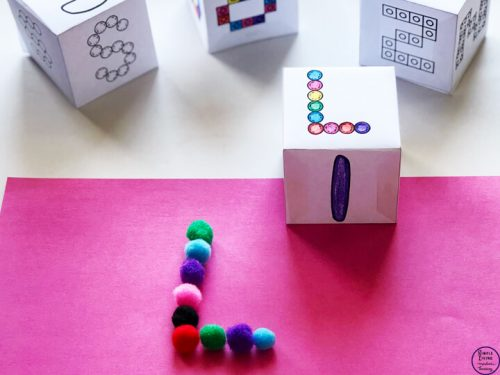A fun way to work on fine motor skills is with this fine motor alphabet dice that contains six different skills for all uppercase and lowercase letters.