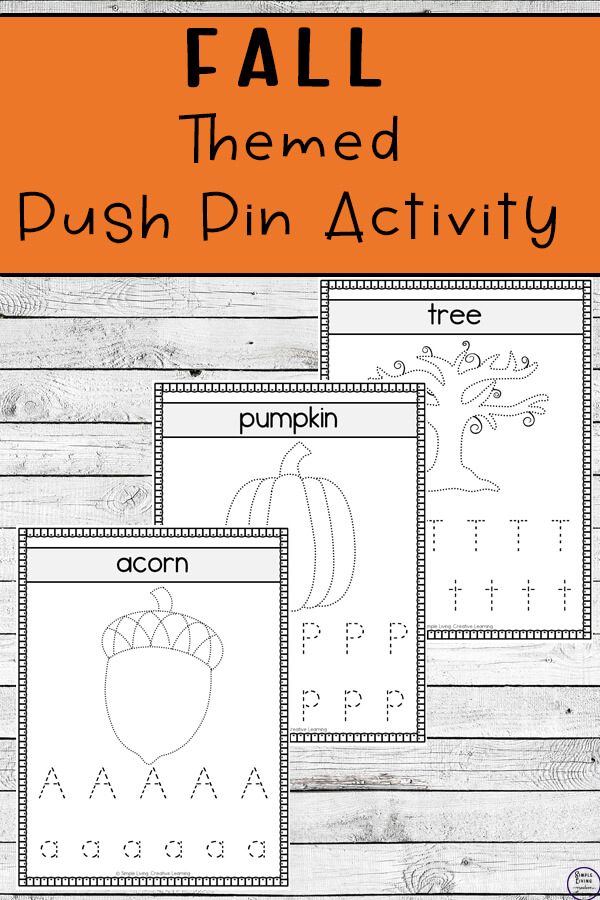 With three different sized activities, these fall push pin worksheets are a fun way to create art while working on fine motor skills.