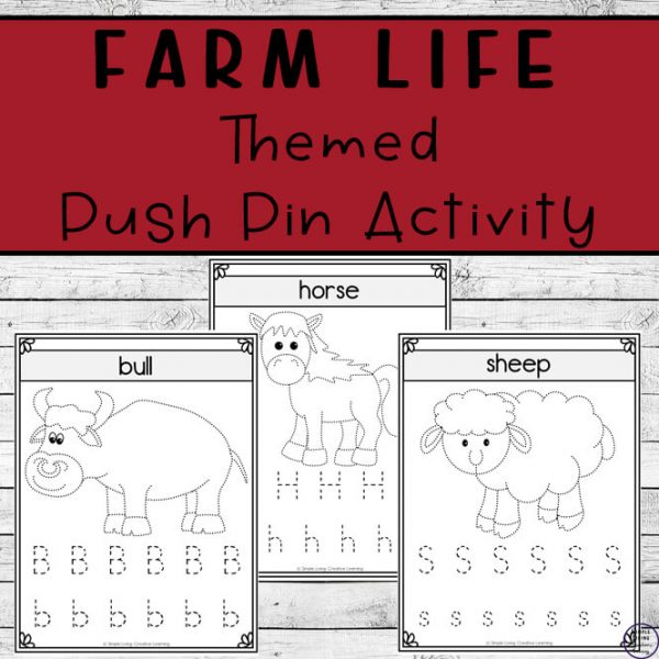 With three different sized activities, these farm life push pin worksheets are a fun way to create art while working on fine motor skills.
