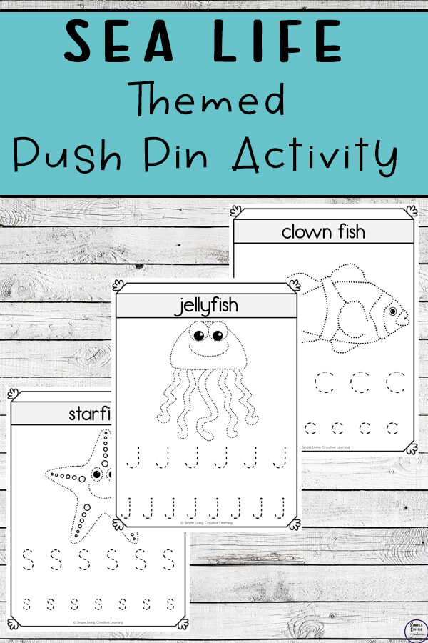 With three different sized activities, these sea life push pin worksheets are a fun way to create art while working on fine motor skills.