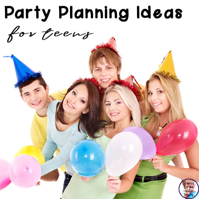 Teens with balloons having party