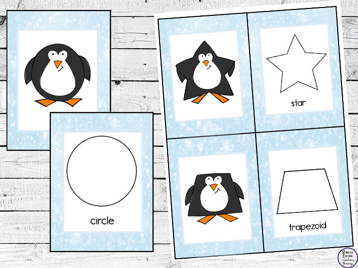 2D Penguin Shape Matching Cards