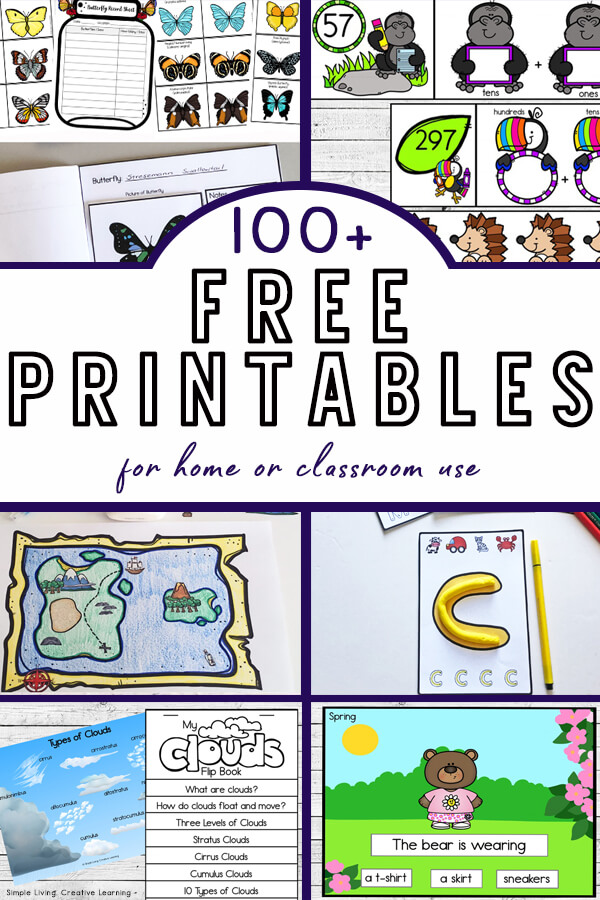 100+ FREE Educational Printables For Home Or Classroom Use - Simple Living.  Creative Learning
