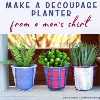 Upcycled Men's Shirts Decoupage Planters