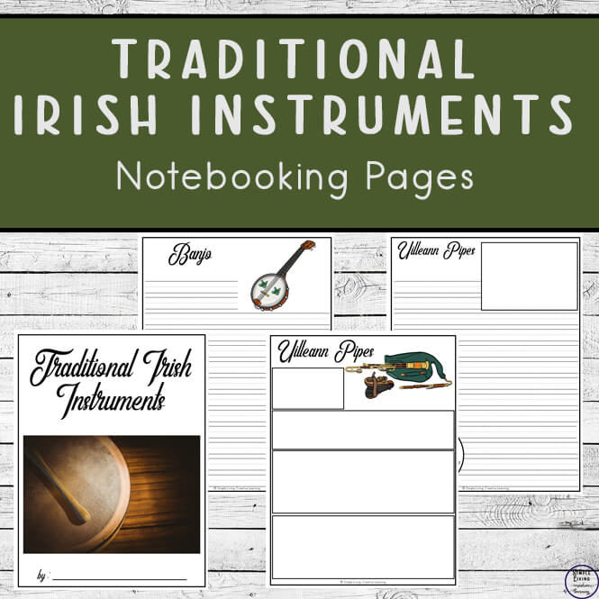 Traditional Irish Music Instruments Notebooking Pages