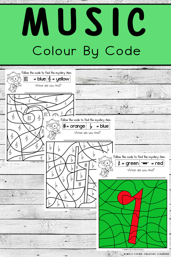 Music Colour By Code Worksheets