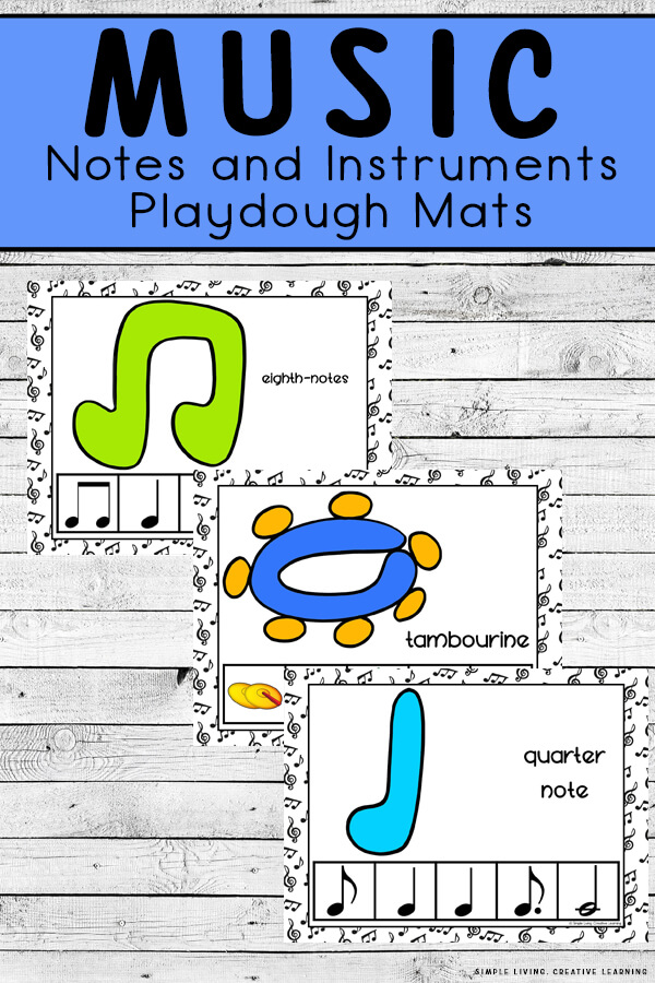 Music Notes and Instruments Playdough Mats