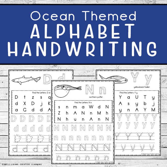 Ocean Themed Alphabet Handwriting Worksheets