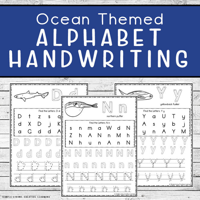 Ocean Themed Alphabet Handwriting Worksheets