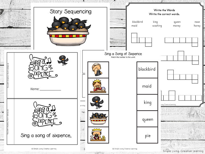 Sing a Song of Sixpence Printable Pack
