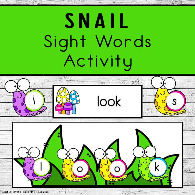 Snail Sight Words Activity