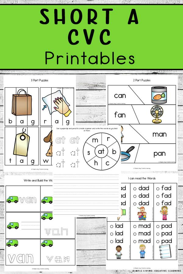 Printable Short A CVC Printables