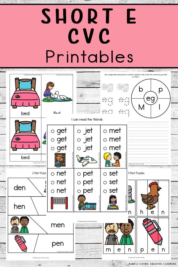 Short E CVC Printables