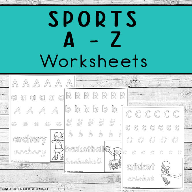 Sports Themed Alphabet Handwriting Worksheets