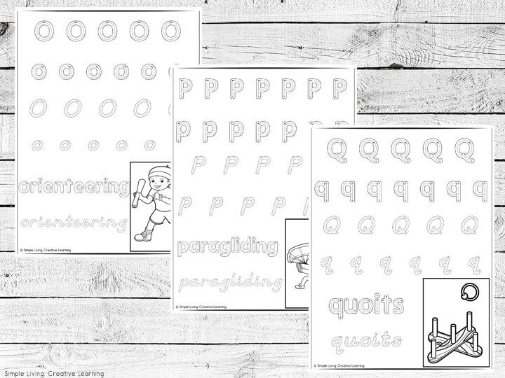 Sports Themed Alphabet Handwriting Worksheets