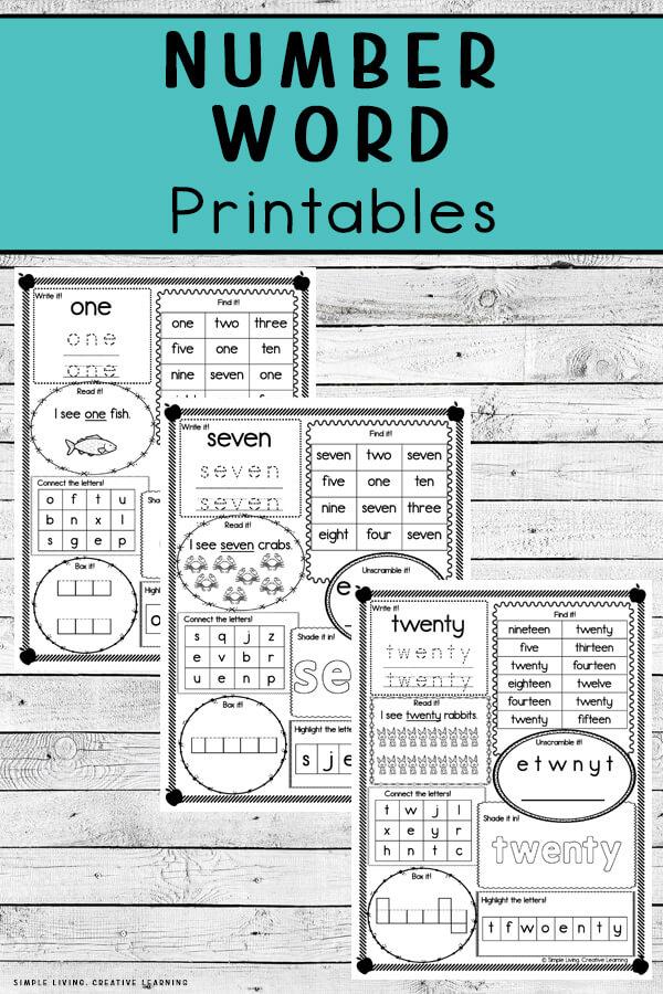 Number Word Printables