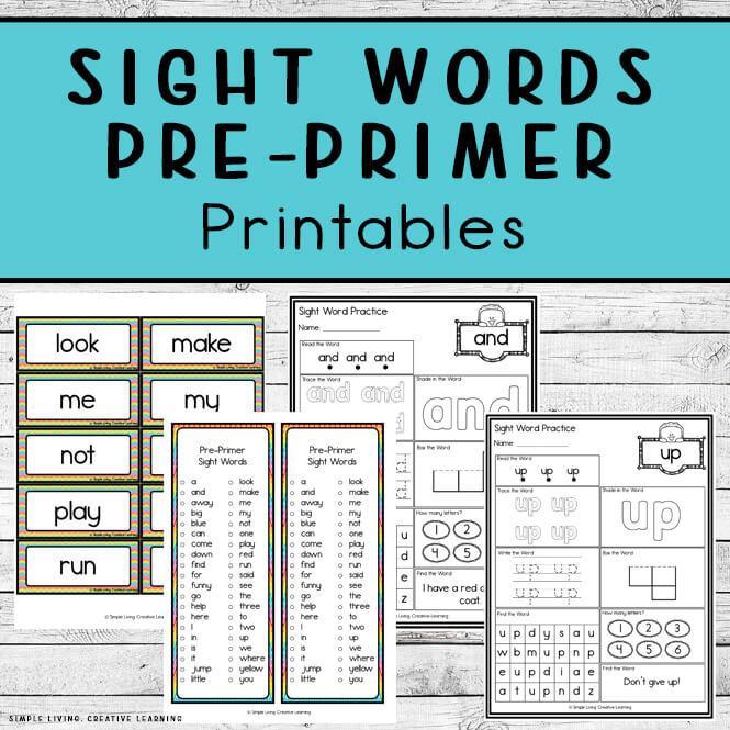 Pre-Primer Sight Word Printables