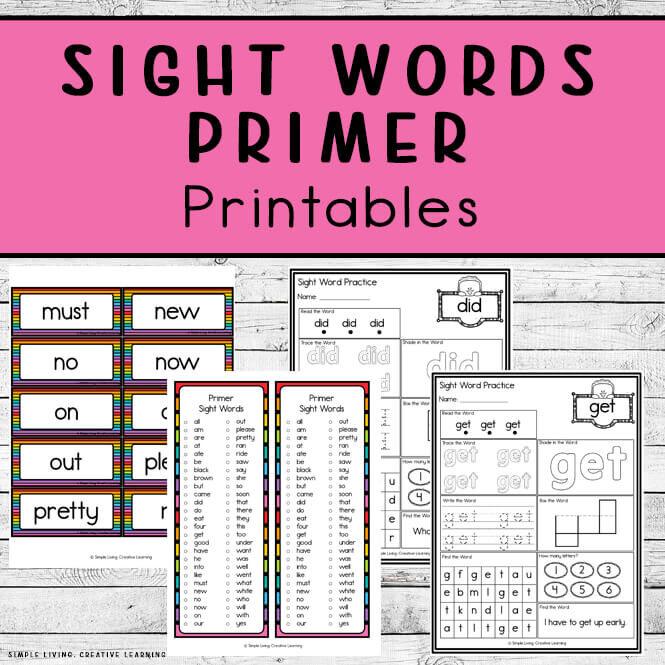 Primer Sight Word Printables