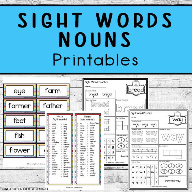 Noun Sight Word Printables